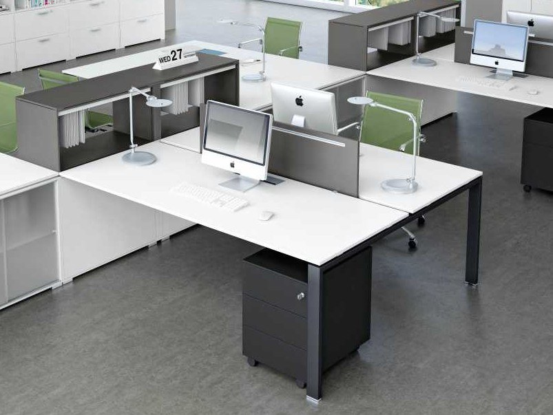 Multiple office workstation with desk screens GLIDER | Office workstation by Bralco