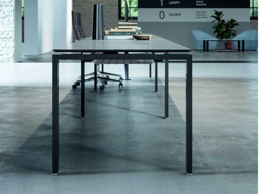Glass ceramic workstation desk with cable management GLIDER   Workstation desk by Bralco