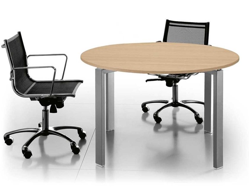Round aluminium and wood meeting table GLIDER | Aluminium and wood meeting table by Bralco