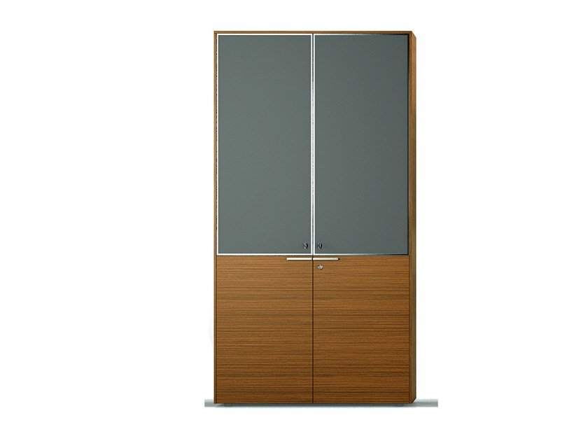 Tall wood and glass office storage unit with hinged doors GLIDER | Wood and glass office storage unit by Bralco