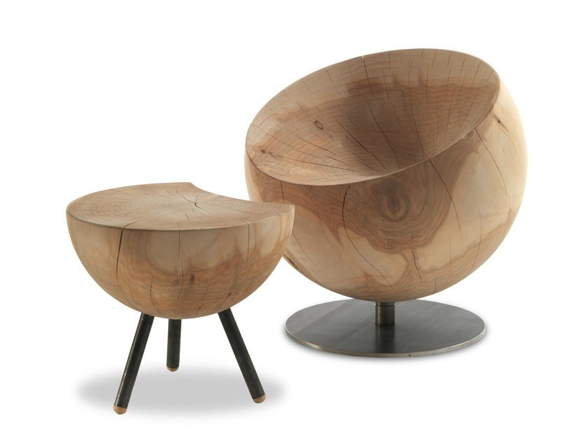 Swivel cedarwood armchair GLOBE by Riva 1920