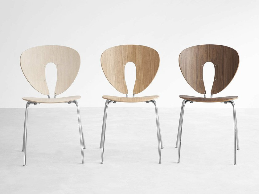 Stackable wooden chair GLOBUS | Wooden chair by STUA