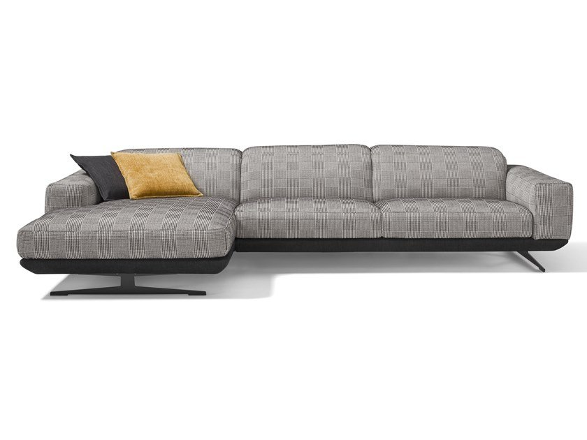 Recliner fabric sofa with chaise longue GLORIA | Fabric sofa by Egoitaliano