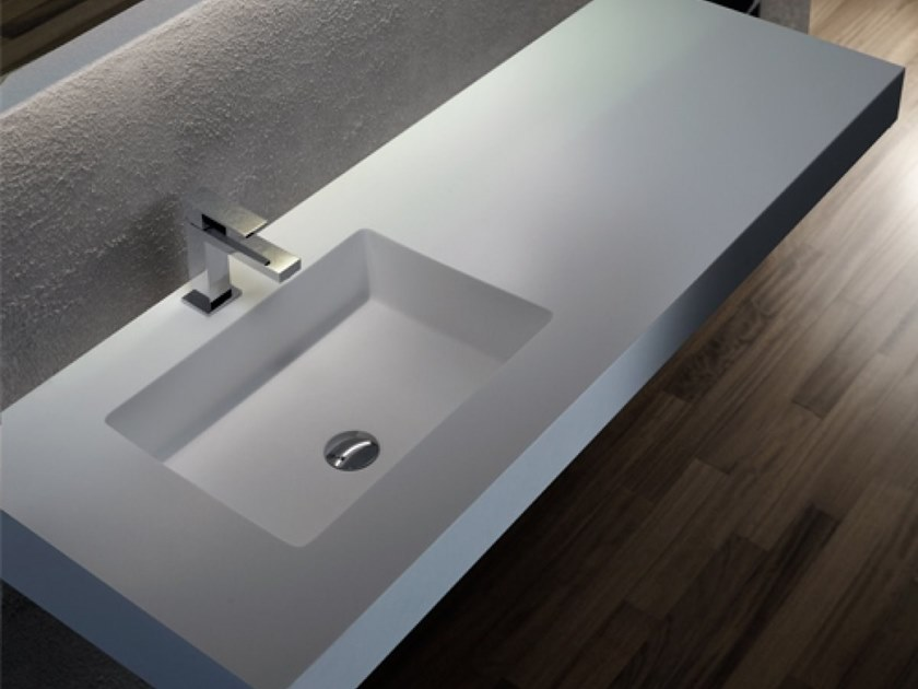 Undermount rectangular Solid Surface washbasin GLOW | Rectangular washbasin by Blu Bleu