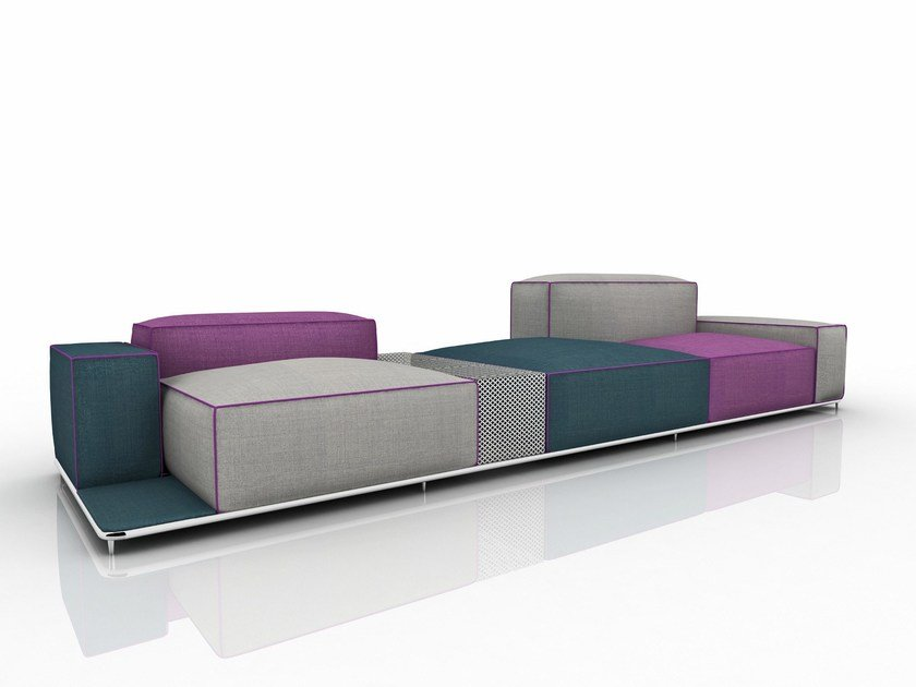 Sectional fabric sofa with removable cover GLOW by Nube Italia