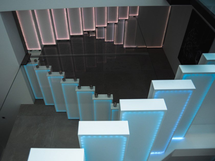 Corian® cantilevered staircase GO UP by Siller Treppen