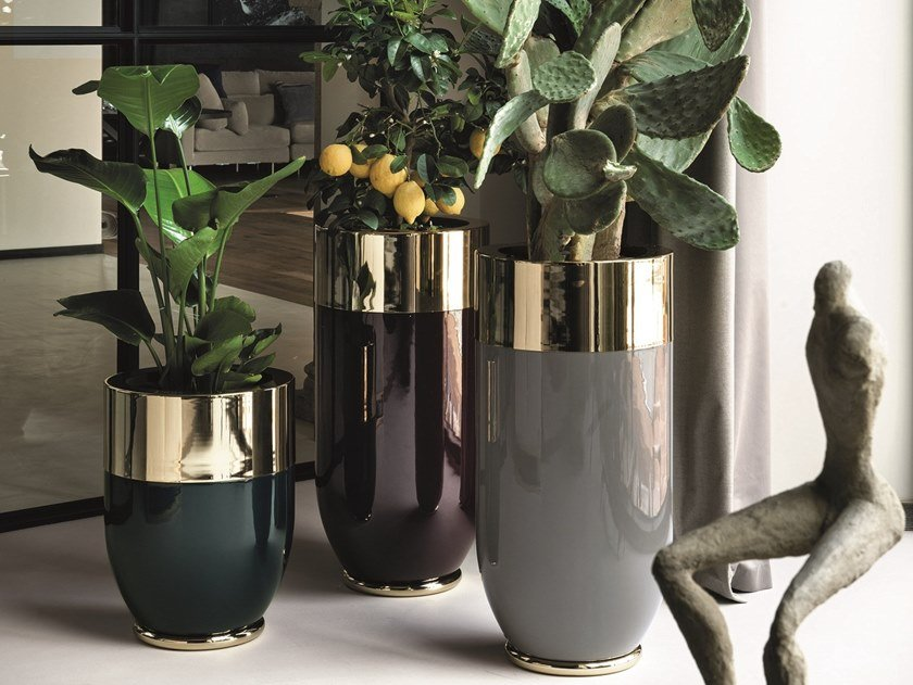 High Round Plant Pot Win Cachepot By Longhi