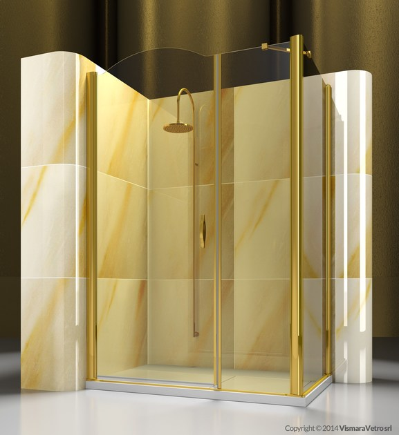 Corner custom tempered glass shower cabin GOLD A2+FD by VISMARAVETRO