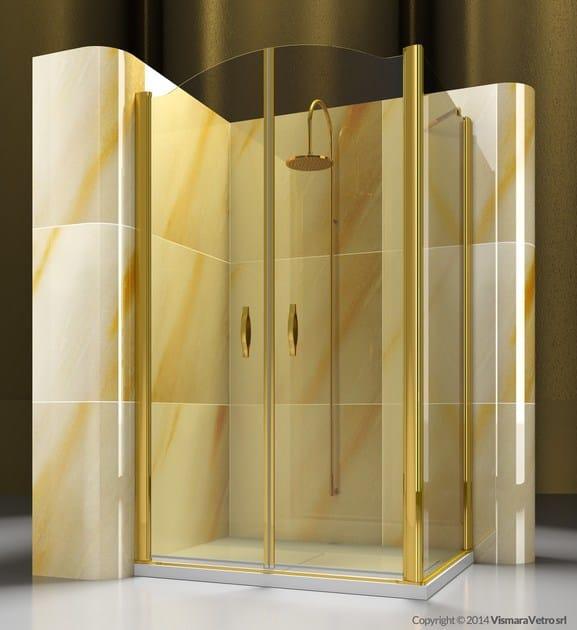 Vetro Temperato Su Misura.Box Doccia Angolare Su Misura In Vetro Temperato Gold Ad Fd