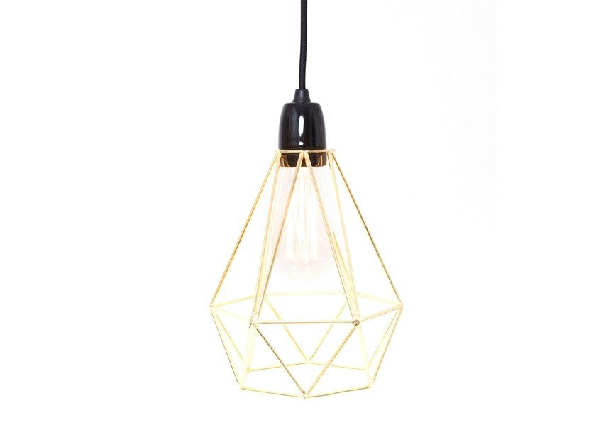 Metal pendant lamp / table lamp GOLD CAGE BLACK FABRIC WIRE by FILAMENTSTYLE