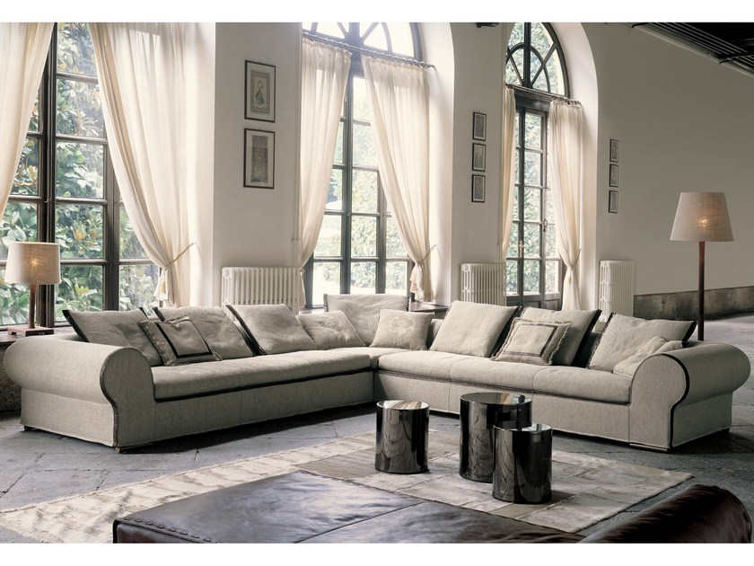 Corner fabric sofa with removable cover GOLD by Longhi