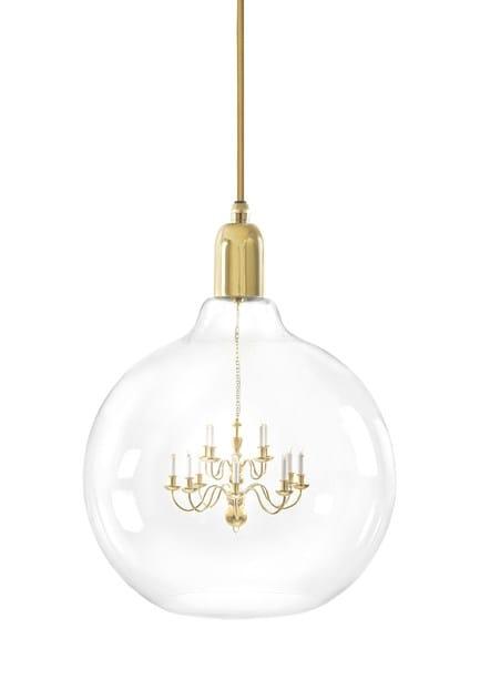 Blown glass pendant lamp GOLD KING EDISON GRANDE by Mineheart