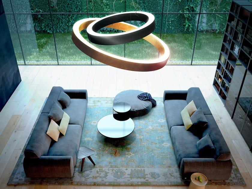 Direct-indirect light aluminium pendant lamp GOLDEN RING by PANZERI