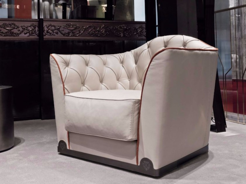 Tufted leather armchair with armrests GRACE | Leather armchair by Longhi