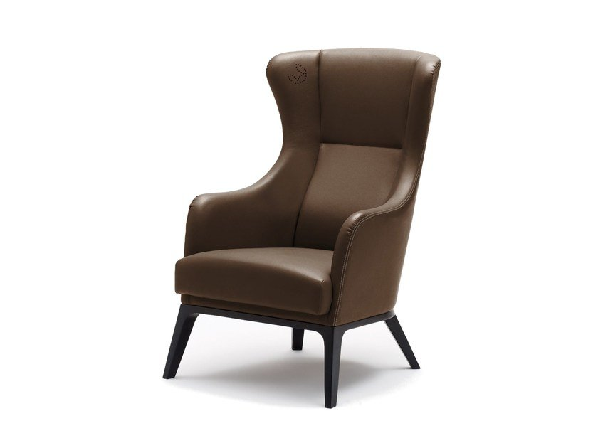 Leather wingchair with armrests GRACE | Leather armchair by Wiesner-Hager
