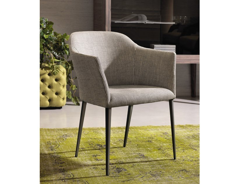 Upholstered fabric chair with armrests GRACE by Porada