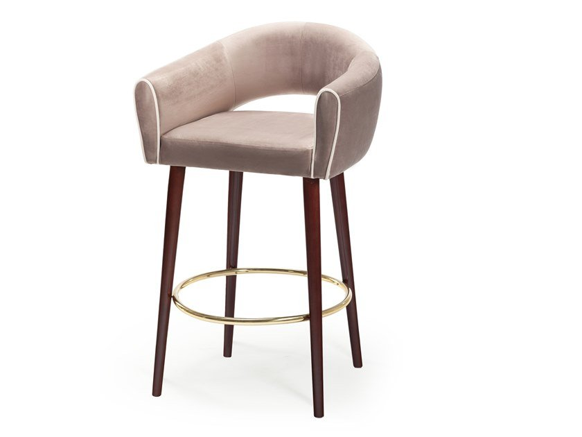 Upholstered fabric stool with armrests with back GRACE | Stool by Mambo Unlimited Ideas