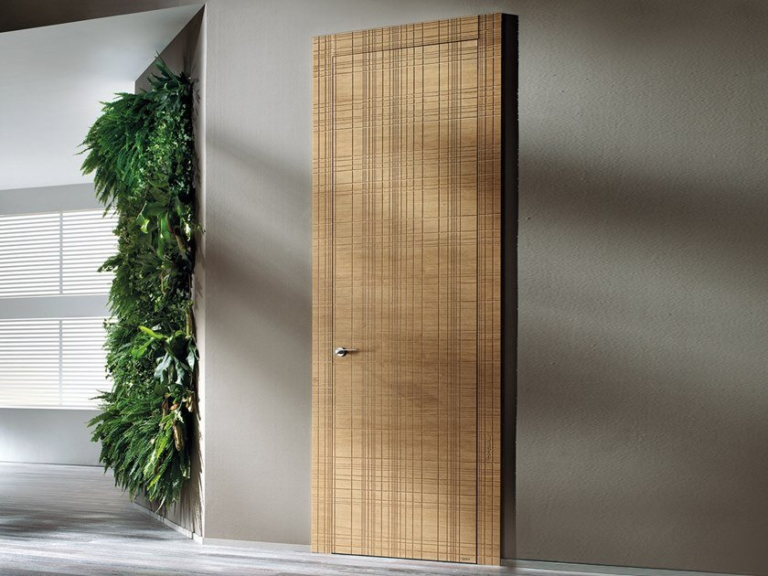Hinged wooden door GRAFFIATA by BARAUSSE