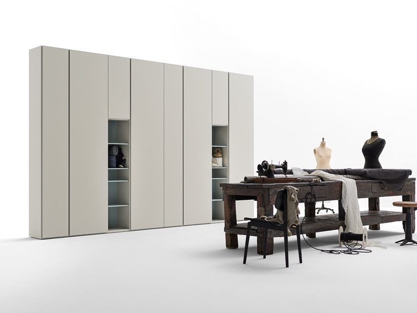 Sectional lacquered wooden wardrobe GRAFIK | Sectional wardrobe by Caccaro