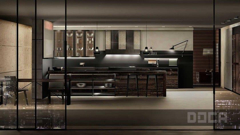 Wooden kitchen with island GRAIN VIEJO TINTE PANGA / IRON VINTAGE by Doca