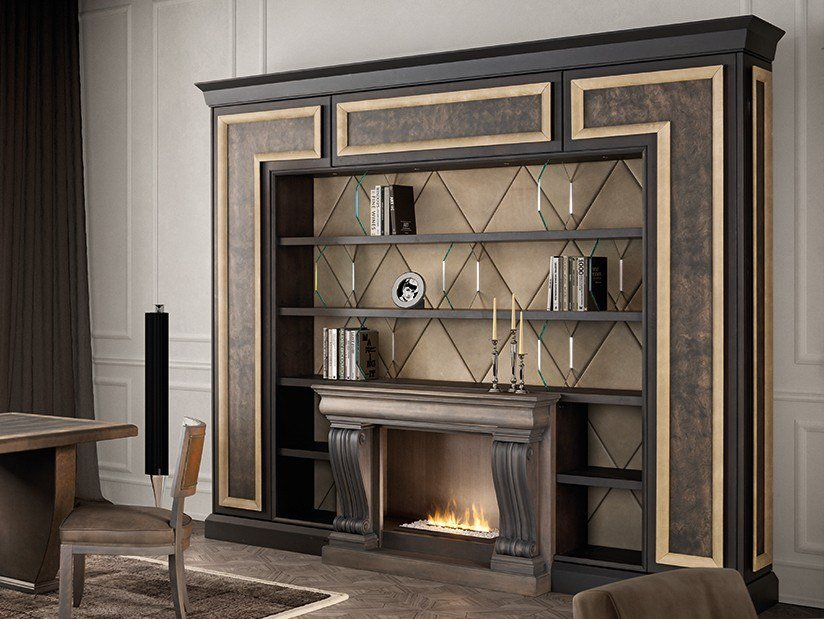 Open maple shelving unit with built-in lights GRAN DUCA | Bookcase by Prestige
