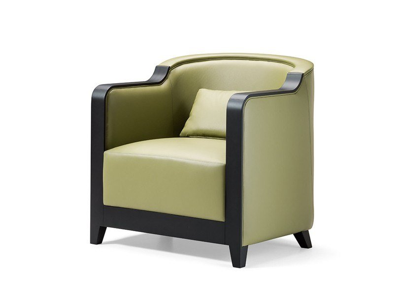 Upholstered leather armchair with armrests GRAN DUCA | Leather armchair by Prestige