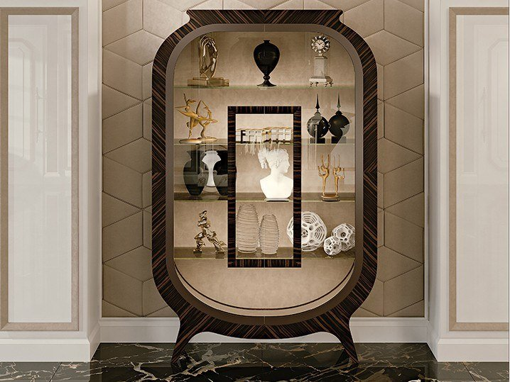 Art Nouveau wood and glass display cabinet Ebony display cabinet by Prestige