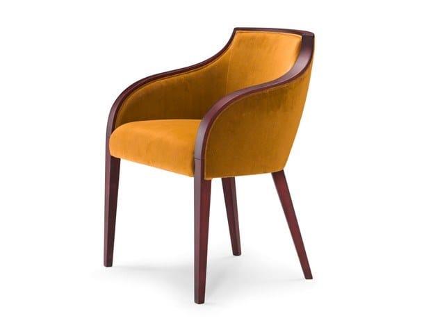 Upholstered velvet chair with armrests GRAN DUCA | Velvet chair by Prestige