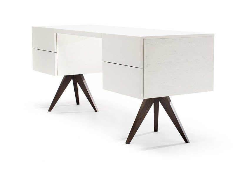 Lacquered rectangular writing desk with drawers GRAND MESA by jot.jot