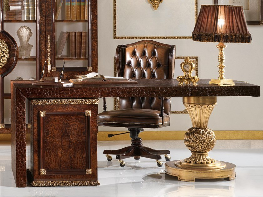 Rectangular Imitation leather writing desk with drawers GRAND ROYAL | Writing desk by A.R. Arredamenti