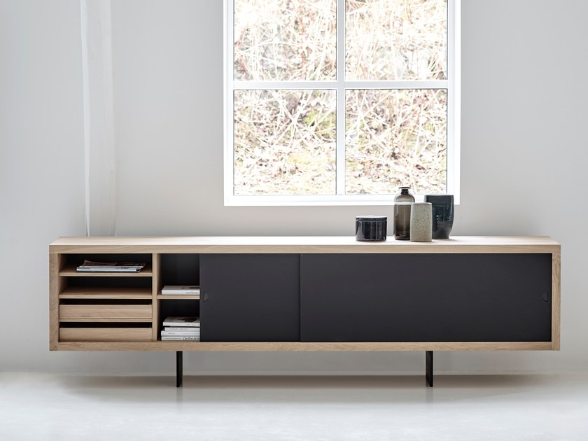 Solid wood sideboard with sliding doors grand sideboard by for Sideboard 240 cm