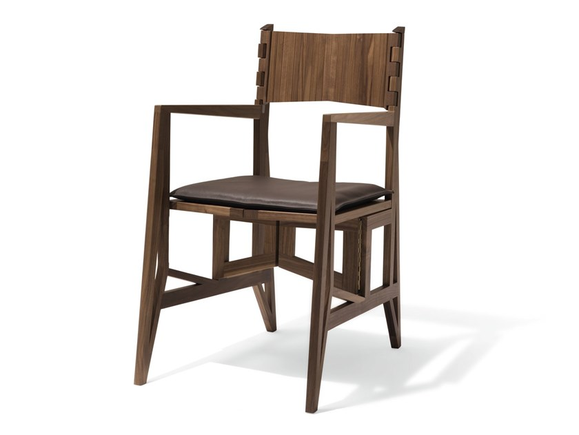 Folding walnut chair with armrests GRAND TOUR | Chair by GIORGETTI