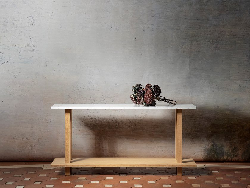 Rectangular marble console table GRANDE CONSOLE HAUTE | Marble console table by Objets Architecturaux