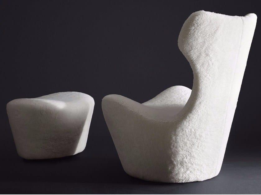 Swivel natural sheepskin armchair with footstool GRANDE PAPILIO 50° by B&B Italia