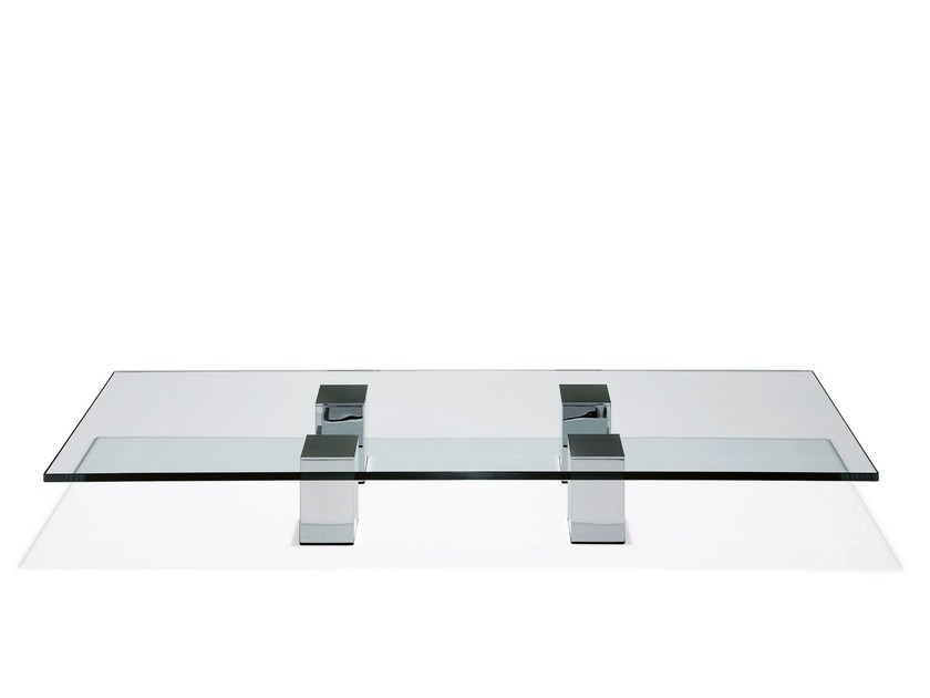 Low glass coffee table GRANDE | Rectangular coffee table by Draenert