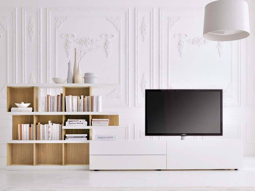 Modular TV cabinet GRAPHOS-CHARLOTTE | TV cabinet with shelves by Silenia