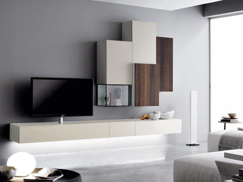 Contemporary style wall-mounted lacquered wooden TV wall system GRAPHOS GLASS by Silenia