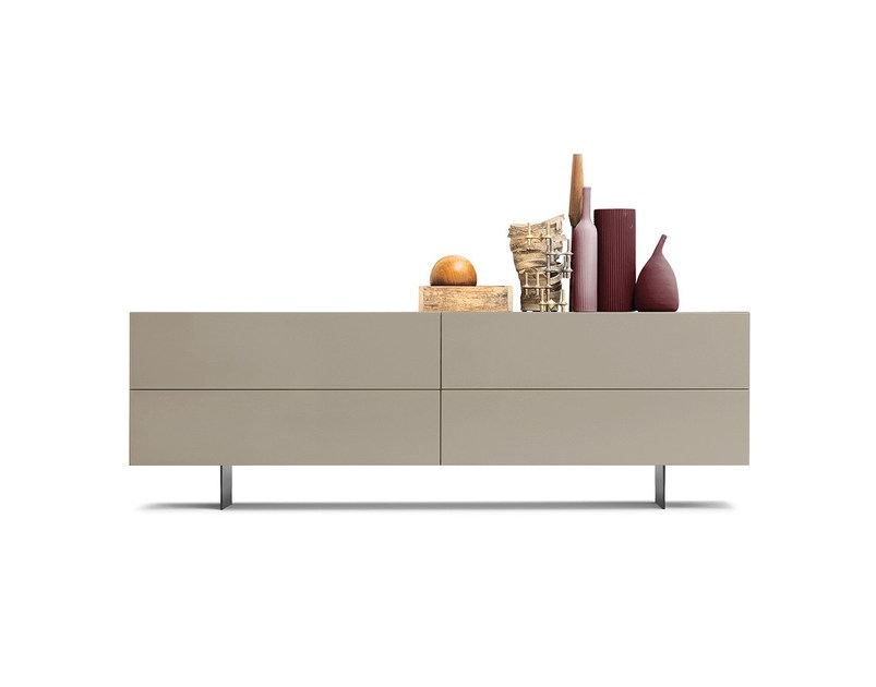 Contemporary style lacquered wooden sideboard with flap doors with drawers GRAPHOS | Sideboard by Silenia