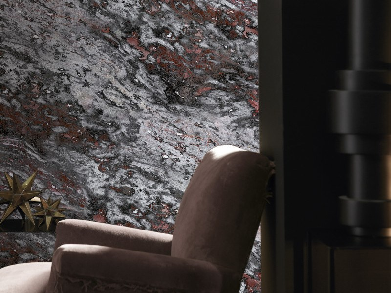 Washable panoramic wallpaper with marble effect GRAY & RED SARRANCOLIN MARBLE | Panoramic wallpaper by Koziel