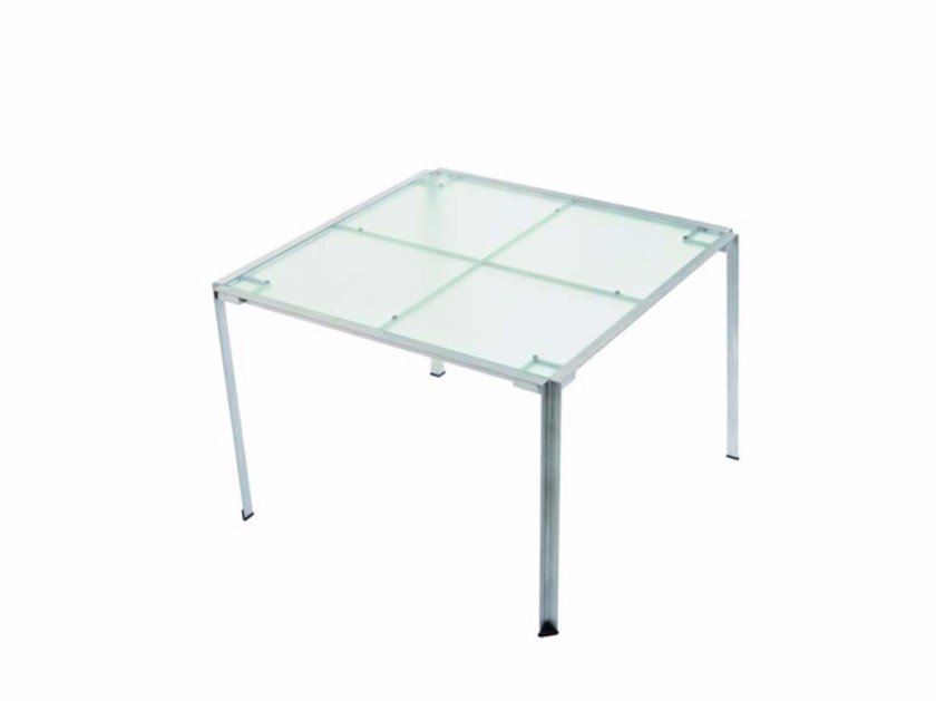 Square Glass and Stainless Steel garden table GREEN - 215_O by Alias