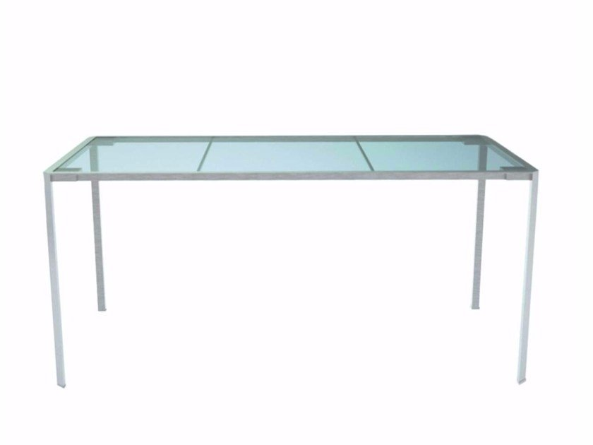 Rectangular Gl And Stainless Steel Garden Table Green 218 O By Alias