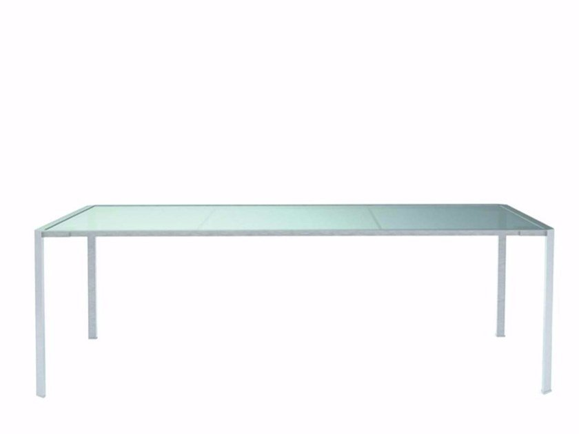 Rectangular Glass and Stainless Steel garden table GREEN - 222_O by Alias