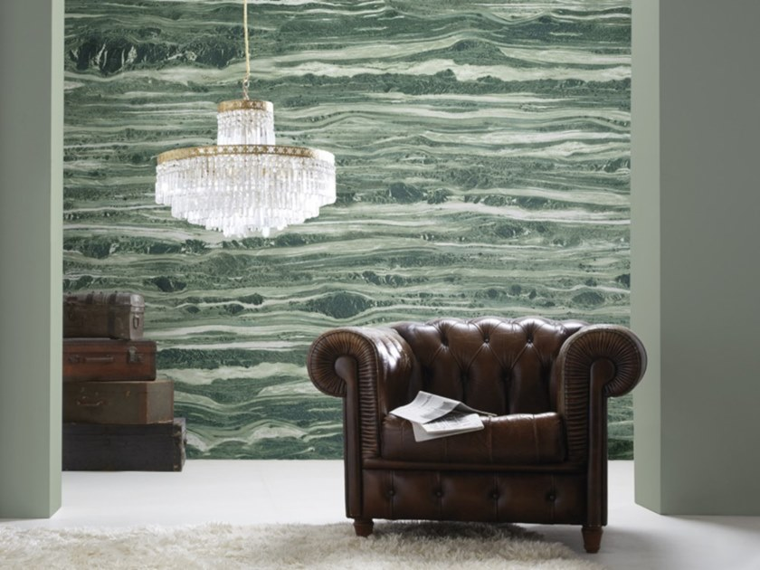 Washable panoramic wallpaper with marble effect GREEN CIPOLIN MARBLE by Koziel