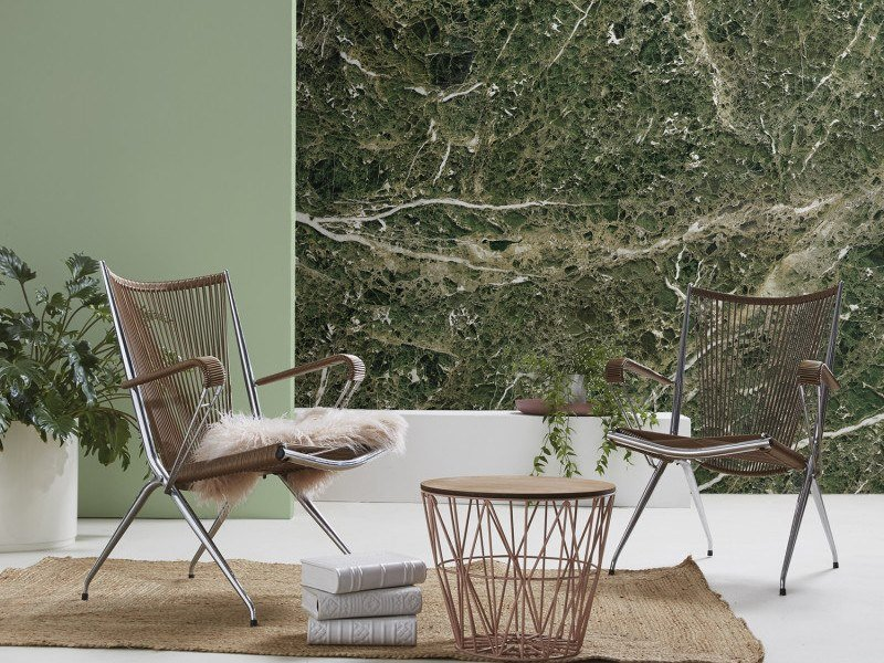 Washable panoramic wallpaper with marble effect GREEN EMPERADOR MARBLE | Panoramic wallpaper by Koziel