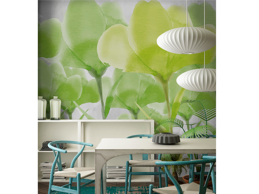 Adhesive washable wallpaper GREEN FLOWERS by Wall LCA