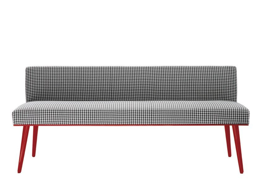 Upholstered fabric bench with back GREENWICH by HC28