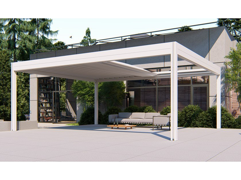 Freestanding motorized aluminium and PVC pergola GRETA by RGM