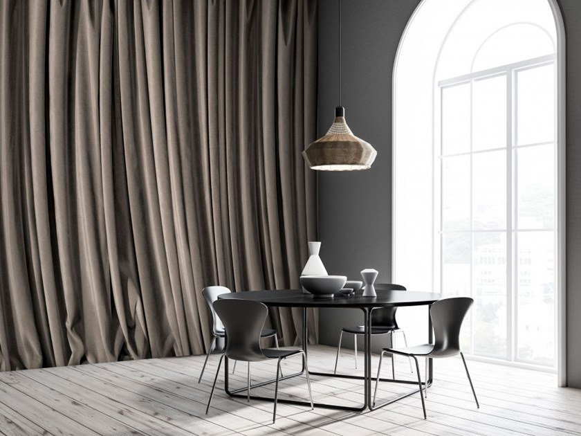 Panoramic wallpaper with textile effect GREY CURTAIN by Koziel
