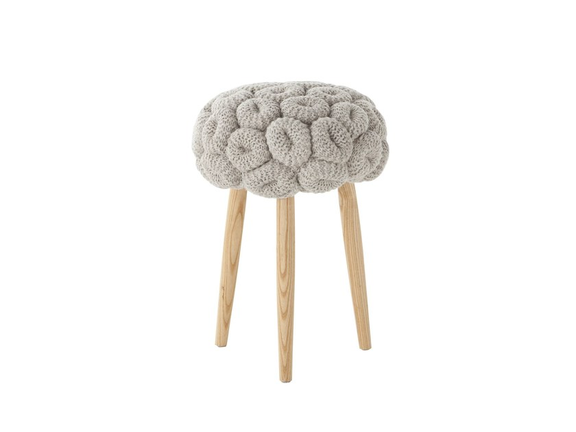 Upholstered wool stool GREY KNITTED STOOL by GAN