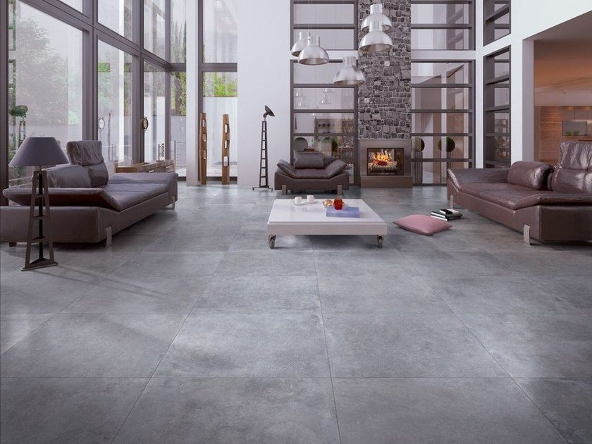 Full-body porcelain stoneware flooring with concrete effect BLUE EVOLUTION GREY by La Fabbrica